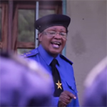 Colonel Honorine Manyole speaking to assembled police officers