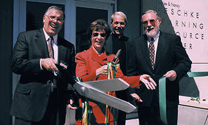 Ribbon cutting for Geschke Learning Resource Center