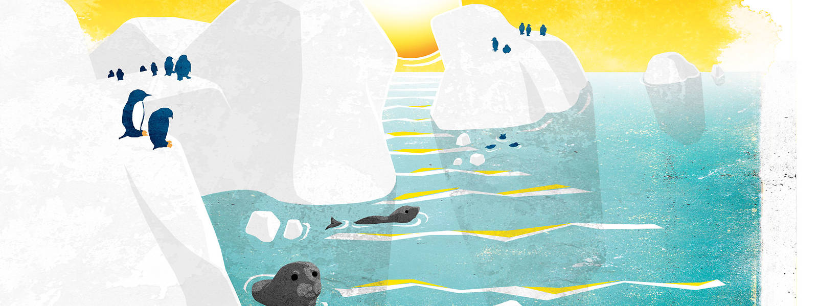 Illustration: Melting glaciers with seals and penguins in Antarctica