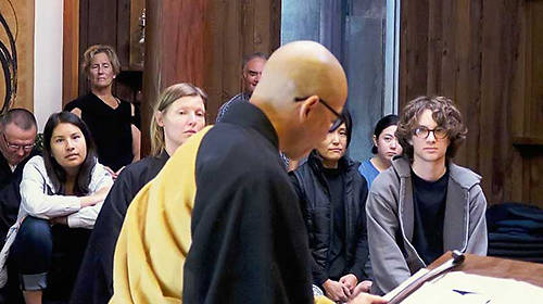 Students in a Buddhism first-year seminar