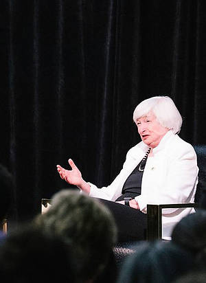 Janet Yellen (right) interviewed at USF by Associate Professor of Economics Suparna Chakraborty