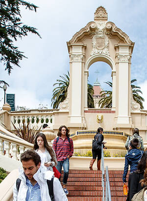 Students walk down Lone Mountain stairs