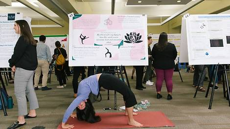 student in a yoga pose