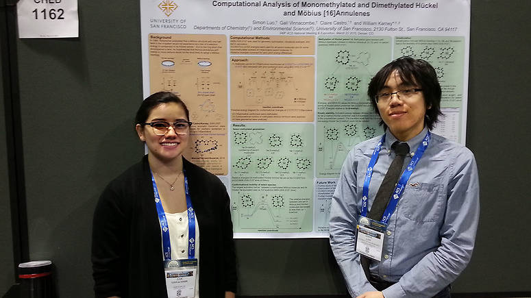 Gail Vinnacombe (left) and Simon Luo (right) in front of the poster they presented at the American Chemical Society National Meeting in Denver, March 2015.