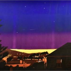 Painting of a city from a distance, the sky fades from blue to purple with a moon and stars