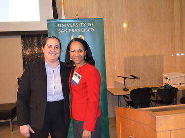 Law Review Symposium Editor Sophia Terrassi '20 and Commissioner Charlotte A. Burrows of U.S. EEOC