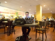 Student studying in Crossroads Cafe