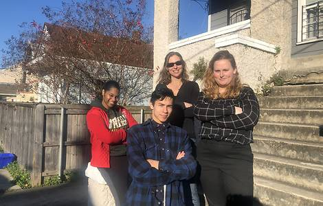 Sallia Wilkins '21, Dustin Ercolano '21, Prof. Lara Bazelon, and Kendall Baron '21 in Louisiana