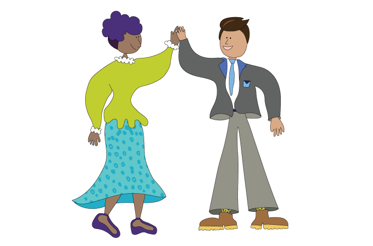 Illustration of two people high-fiving