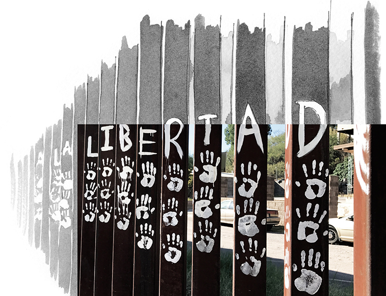 """Photo and illustration of U.S.-Mexico border wall with hand prints and \""""La Libertad\"""" painted on"""