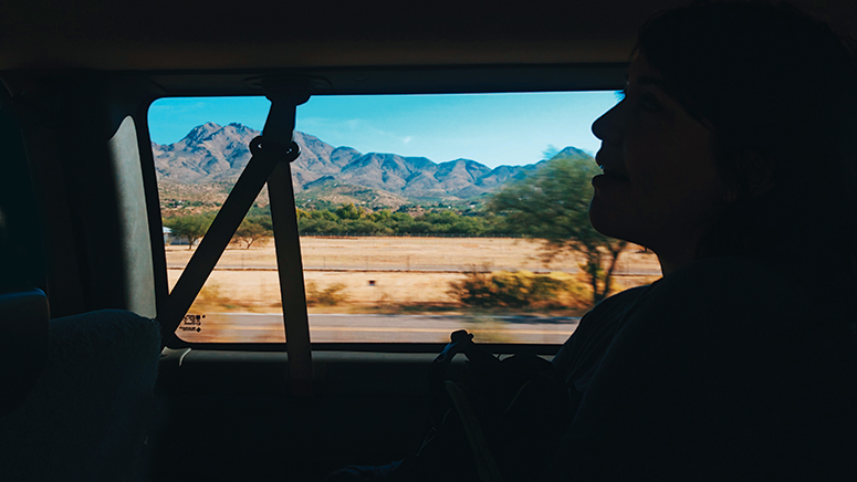 Car passenger silhouetted in shadow with passing mountains and desert landscape framed by window