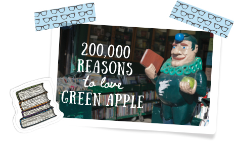 "Photo of statue with text ""200,000 reasons to love Green Apple"""